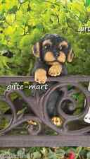 Black & Tan puppy dog climbing fence hanging outdoor garden statue patio yard