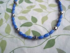 15 Inch BLUE Glass and SILVER Crystal Bead SILVER Spacer CHOKER G-87