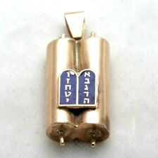 Vintage 14k rose gold Torah pendant 3D 10 commandments blue enamel Judaic Estate