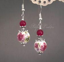 Burgundy and White Earrings Porcelain dark pink Flower 925 sterling silver hook