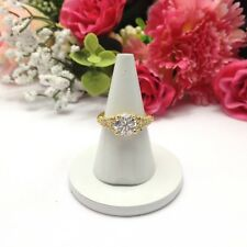 Wedding Engagement Ring U.K. Size:M Gold Plated Ring CZ Cubic Zirconia