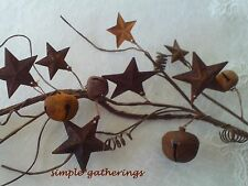 Primitive Rusty STARS & JINGLE BELLS Garland ~ 5 Ft. ~ Crafts Christmas Rustic