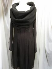 STUNNING MADE IN ITALY BROWN  SILK BLEND SHEER & KNIT LAGENLOOK TOP/DRESS SIZE M