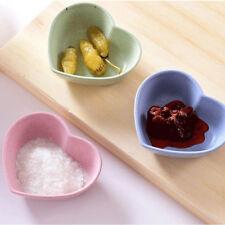 4pcs Sauce Plate Wheat Straw Love Heart Shape Small Plates Food Snack Dish