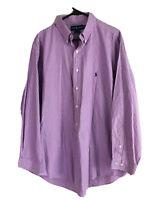 Ralph Lauren Yarmouth Button Down Shirt Mens 2XL (17) Purple Striped Long Sleeve
