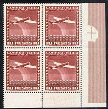 CHILE 1934 AIR MAIL STAMP # 236 MNH wmk 3 BLOCK OF FOUR AIRPLANE CORNER OF SHEET