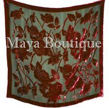 Piano Shawl Wrap Scarf Silk Burnout Velvet Red & Black No Fringe Maya Matazaro
