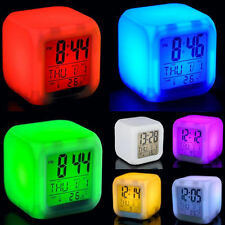 1pcs New Glowing 7 LED Color Change Digital Glowing Alarm Thermometer Clock JMHG