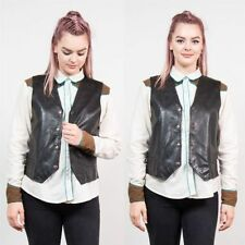 Popper Leather Patternless Waistcoats for Women