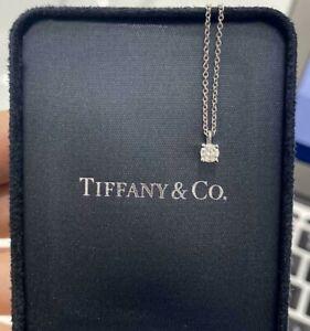 Platinum Tiffany & Co. Solitaire Diamond Pendant with box