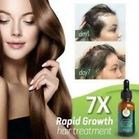 7X Rapid Growth Hair Treatment 7 Day Hair Growth Serum 30ml Regrow Oil Y8I3