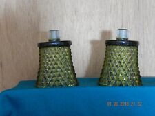 2 Green Glass Sconce Votive Candle Holders Cups Vintage Diamond Cut Design
