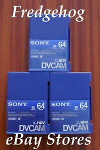 3 x PROFESSIONAL GRADE SONY PDV-64N LARGE DV CAM CAMCORDER TAPES / CASSETTES