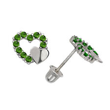 Pave Set Emerald Double Heart Stud Earrings Screw Back 14K White Gold