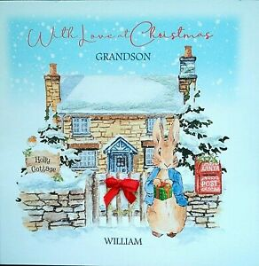 Personalised Children's RABBIT Christmas card With Name & Relative Pink or Blue