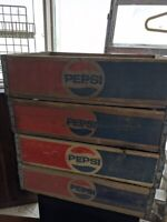 Vtg  Pepsi Cola Wooden Box Pop Soda Bottle Carrier Crate Red Blue