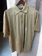 NWT MURANO Men's Greenish Tan w/ Med Brown Stripe SS Pull Over Shirt  Size Large