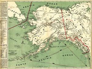 1897 Alaska Klondyke Map Gold Mining Fields Mines Yukon Klondike Wall Art Poster