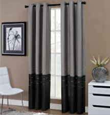 """*Horizon Two-Tone Embroidered Grommet-Top Curtain Panel 50""""Wx84""""L Black/Gray NEW"""