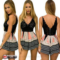 Women's Summer Playsuit Sexy Lace Mini Dress Shorts Beach Jumpsuit FREE SHIPPING
