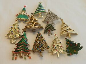 LOT  11 Different Vintage CHRISTMAS TREE  Pin Brooches