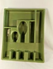 Green Silverware Utensil Cutlery Drawer Organizer Mid Century Kitchen Decor GUC