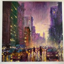 "David Hinchliffe ""Night Falls in the City"" H/S L/E Embellished Giclee 18x18"