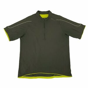 Sugoi Cycling Jersey Men's Size L Avocado Green Short Sleeve 1/2 Zip Semi Fitted