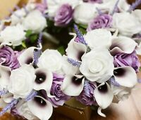 Build wedding package Picasso plum lavender Bouquet boutonniere rose handmade