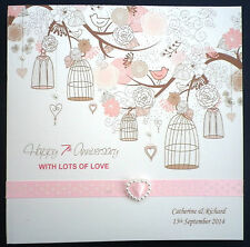 Hand made WEDDING ANNIVERSARY card PERSONALISED / Any Year / birdcages & flowers