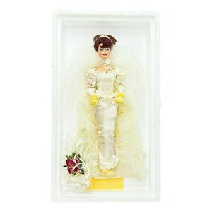 1995 Barbie Romantic Rose Bride Porcelain Doll Wedding Flower Mattel 14541 Open