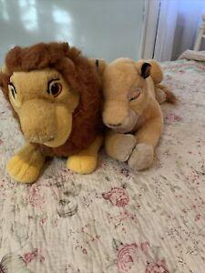 Vintage Disney Pair Of 2 Simba And Mala Stuffed Animal Plush Lions Jumbo GUC