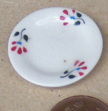 1:12 Scale Red Floral Plate Doll House Miniature Ceramic Kitchen Accessory CRR10