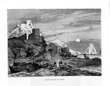 Stampa antica CAPRI veduta al tramonto di Marina Piccola Napoli 1876 Old print