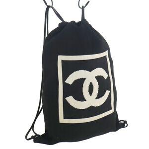 CHANEL Sport Line CC Backpack Bag Purse Black Beige 100% Cotton 8355317 38735