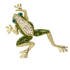 Vintage Large Gold Tone  Rhinestone Lucky Green Enemal Frog Animal Brooch Pin