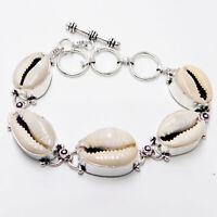 Money Cowrie Shell 925 Sterling Silver plated Handmade Jewellery Bracelet 22 Gm