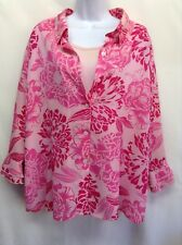 WHITE STAG WOMEN'S Top Twin Set Pink Sheer Floral Lg Fluted Layered Sleeve 18/20