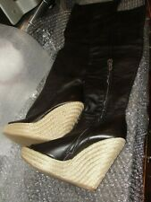 SERGIO ROSSI PEEP TOE OVER THE KNEE BOOTS