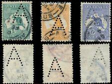 Australia 1914 KangaROOS un PERFIN Adelaide..4 D + 6D + 1 / -
