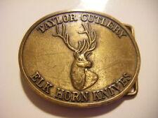 solid brass belt buckle Elk Horn Knives Taylor Cutlery