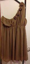 Dorothy Perkins Size 14 Latte Beige Rose One Shoulder Plain Short Dress