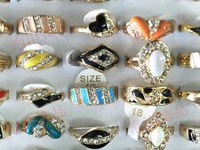 Wholesale Lots 8pcs Rhinestone Multicolor Enamel Gold Band Women's Fashion Rings