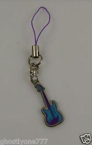 Guitar rocker cell phone or purse charm purple blue music