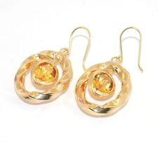 Technibond Citrine Gemstone Dangle Drop Earrings 14K Yellow Gold Clad Silver