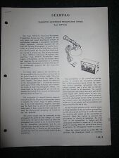 Seeburg Transistor Microphone Pre Amplifier System TMPS3-56 Service Manual Parts