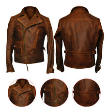 Mens Captain America The First Avengers Distress Brown Biker Real Leather Jacket