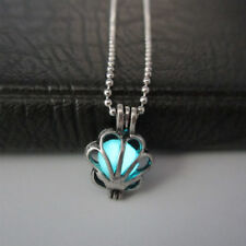 Glow In The Dark Necklace Locket Luminous Silver Steel Steampunk Shell Shape