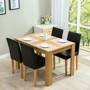 Large Kitchen Dining Room Table Set with 4 Leather Padded Chairs 5-Piece Oak