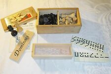 VINTAGE ORIGINAL BOX WOODEN CHESS SET WOODEN BOX SET OF UNPLAYED DOMINOES